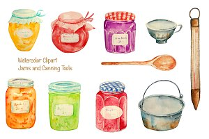 Watercolor Clipart Jam Jar
