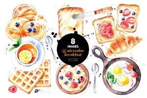 Watercolor Breakfast Vector Set