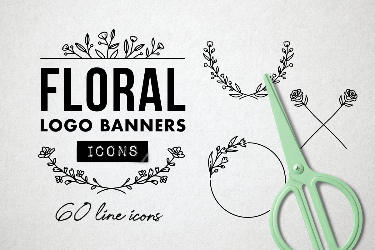 Flower Logo Borders, Floral Icons