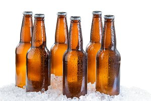 Ice cold six pack of beer