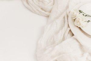 Elegant White Floral Styled Stock