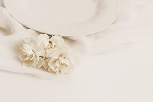 Elegant White/Neutral Floral Stock