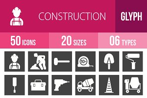 50 Construction Glyph Inverted Icons