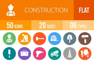 50 Construction Flat Round Icons