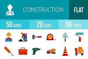 50 Construction Flat Multicolor Icon