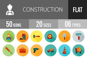50 Construction Flat Shadowed Icons