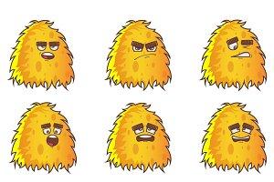 Illustration Of Yellow Monster Set