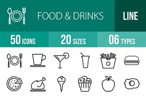 50 Food & Drinks Line Icons