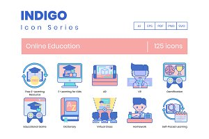 Online Education Icons | Indigo Seri