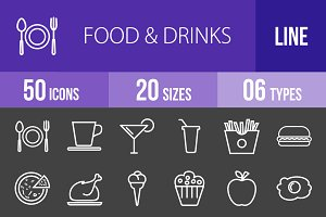 50 Food & Drinks Line Inverted Icons