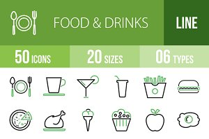 50 Food & Drinks Green & Black Icons