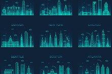 Set of 9 American cities skylines