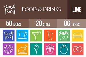 50 Food & Drinks Multicolor Icons