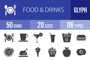 50 Food & Drinks Glyph Icons