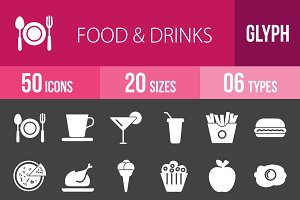 50 Food&Drinks Glyph Inverted Icons