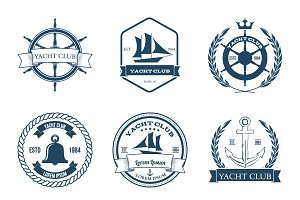 Set of Nine Yacht Club Labels
