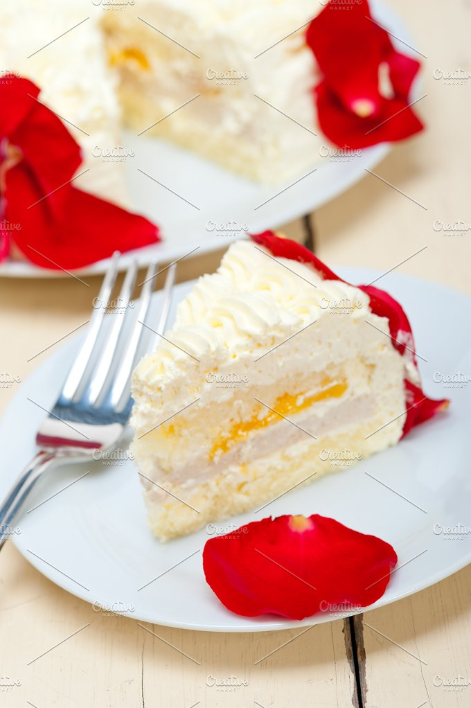 whipped cream mango cake with red rose petals 037.jpg - Food & Drink