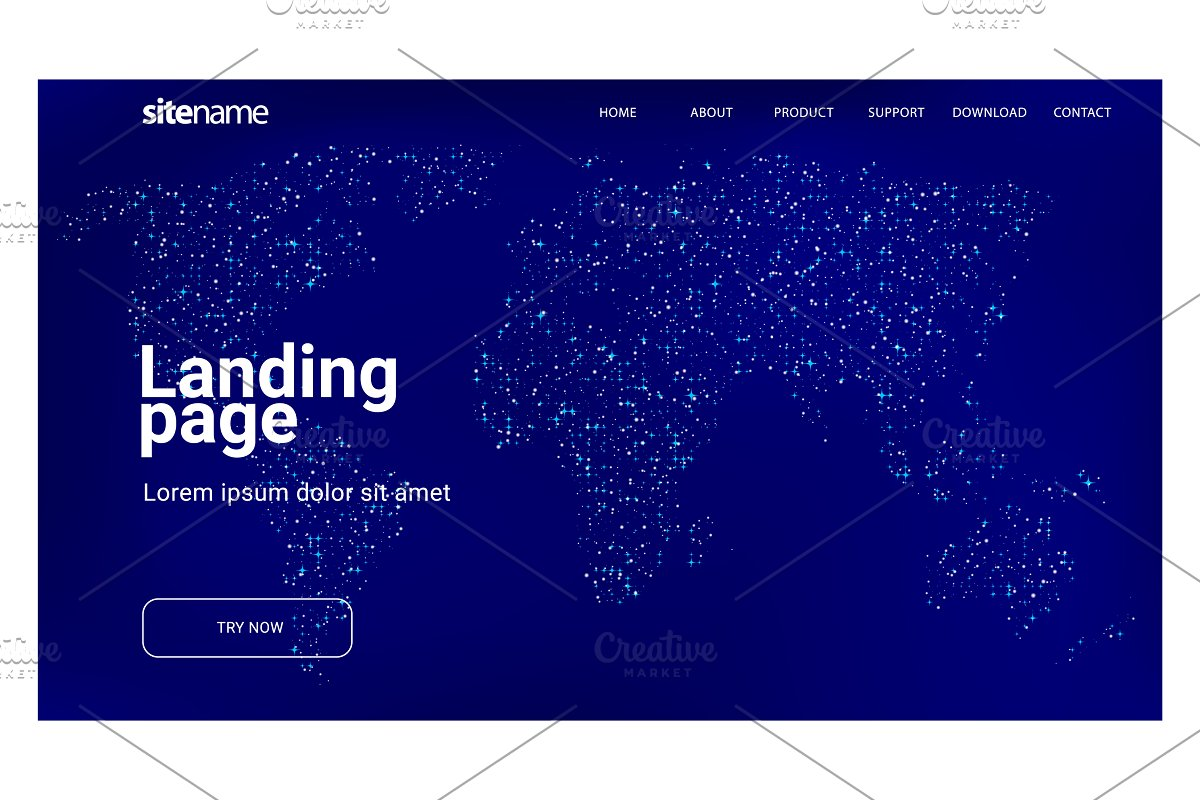 Landing page design with World map