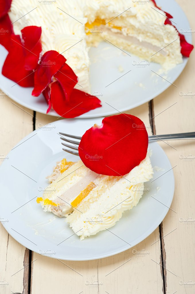 whipped cream mango cake with red rose petals 064.jpg - Food & Drink