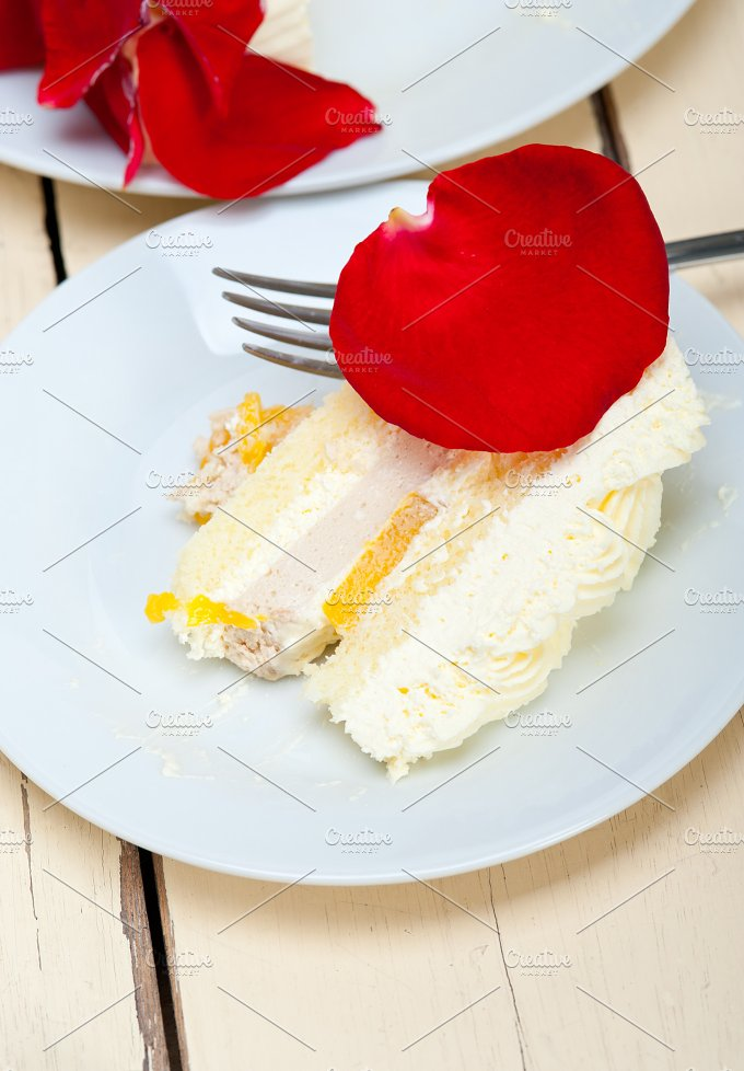 whipped cream mango cake with red rose petals 068.jpg - Food & Drink