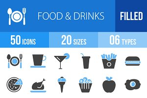 50 Food & Drinks Blue & Black Icons