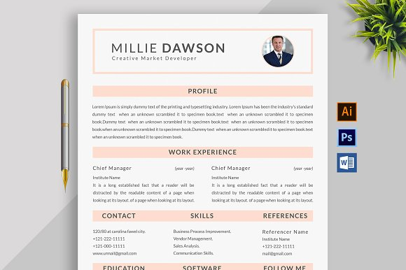 Resume Template and Cover Letter ~ Cover Letter Templates ~ Creative ...