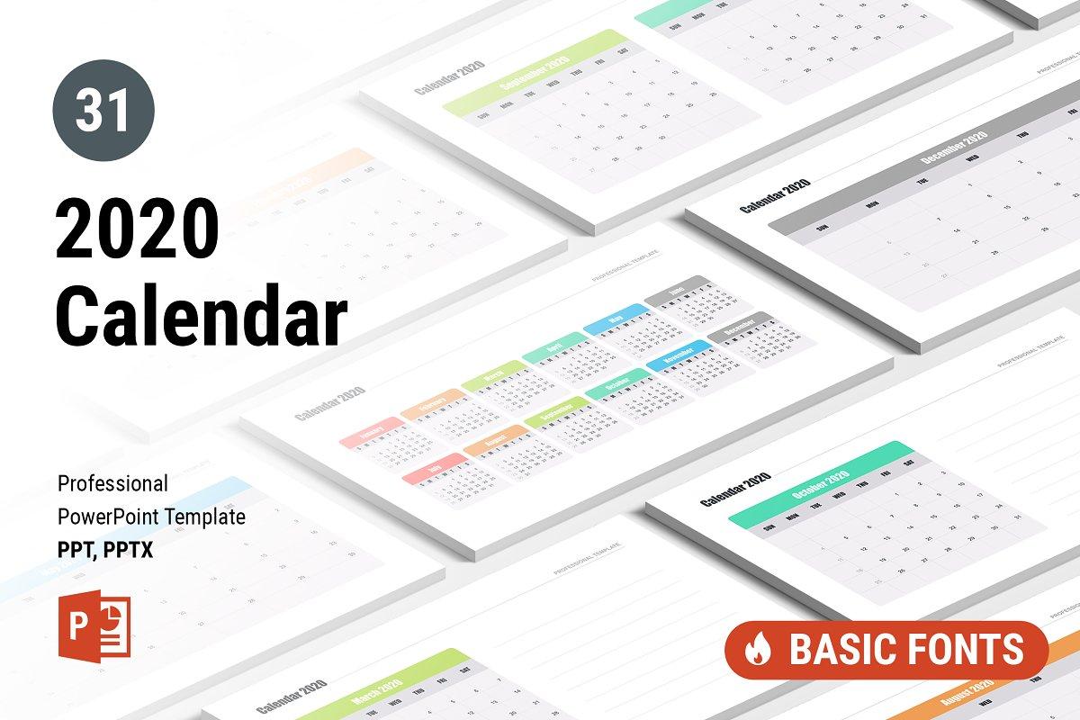 Powerpoint Calendar Template 2020 Calendar 2020 for PowerPoint ~ PowerPoint Templates ~ Creative Market