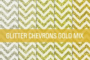 Glitter Chevron Textures Gold Mix