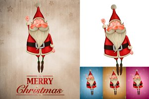 Santa Claus flies greeting card