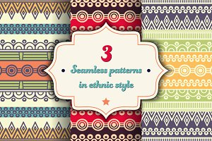 3 Seamless patterns in ethnic style