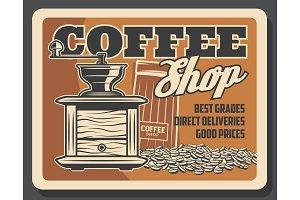 Coffeeshop, coffee grinder mill
