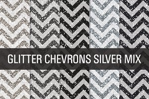 Glitter Chevron Textures Silver Mix