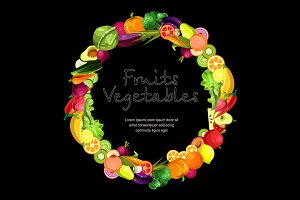 Fruits and vegetables  in a wreath