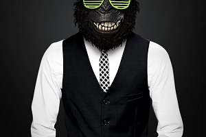 Gorilla Man With Disco Eyeglasses