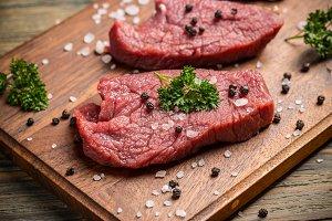 Raw beef slice