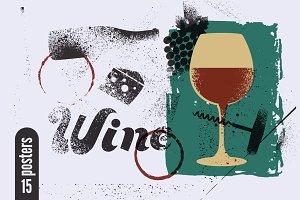 Wine stencil splash style posters.