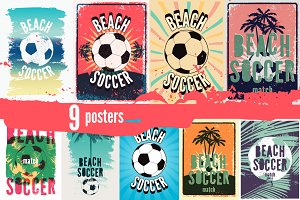 Beach Soccer vintage posters.