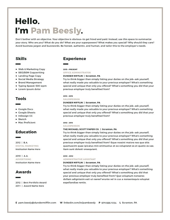 2 Page Resume Template / CV Template