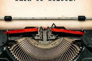 Antique typewriter. Back to school