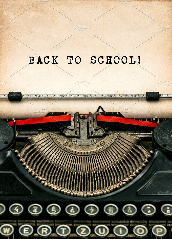 Antique typewriter. Back to school - Education