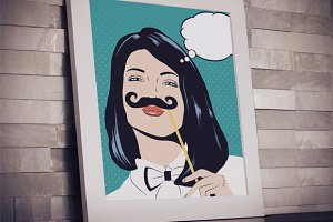 Pop art illustration with girl