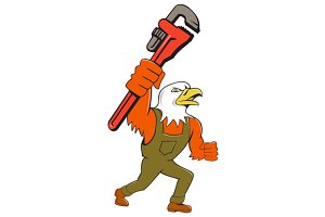Bald Eagle Plumber Monkey Wrench Car