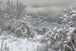 Snowy city to the hill
