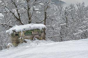 Hunting cabin snowy