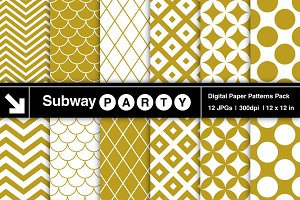 Gold & White Retro Geometric Papers