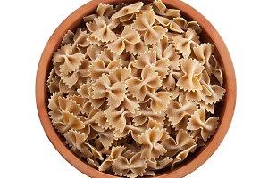 Wholemeal farfalle italian pasta