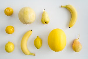 Collection of yellow summer fruits