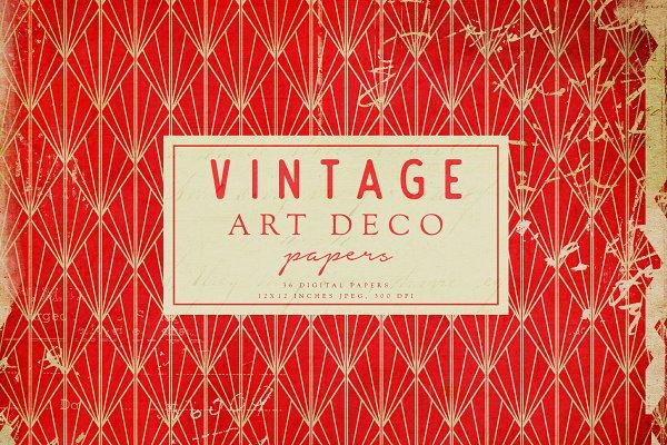 Vintage Art Deco Digital Papers