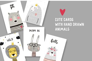Cute card with hand drawn animal