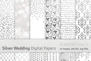 Silver Wedding Digital Papers